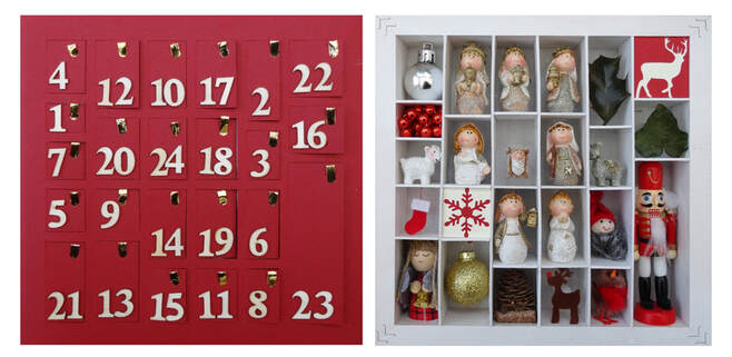 Object advent calendar - lift open each door and reveal a Christmas gift