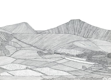 Brecon Beacons | Buy Drawings - Wales Mountains (Pen y Fan)